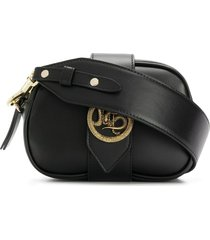 just cavalli dragon buckle shoulder bag - black