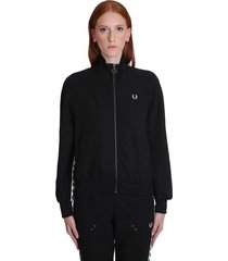 fred perry sweatshirt in black polyester