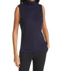 women's l'agence sabrina metallic sleeveless turtleneck sweater, size x-small - blue
