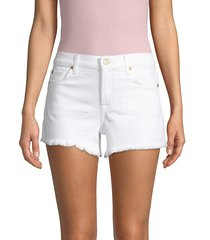 7 for all mankind women's denim cuf-off shorts - white - size 28 (4-6)