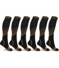 men's and women's copper-infused v-striped knee-length compression socks - 6 pairs