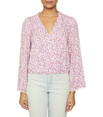 lost + wander vineyards in the valley floral print blouse, size small in purple cream at nordstrom
