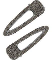 ettika set of 2 crystal hair clips in grey at nordstrom
