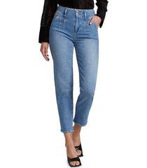 paige women's sarah pleated straight-leg ankle jeans - blue - size 25 (2)