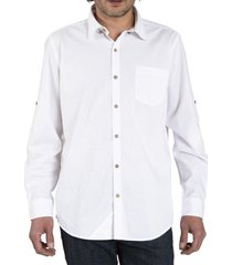 camisa algodón organico hombre galiton blanco rockford