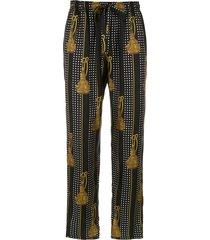 dolce & gabbana tassel printed trousers - black