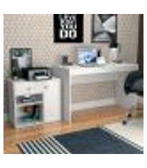 conjunto de mesa para notebook hype com armário ravena 1 pt 1 gv branco