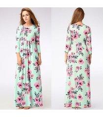 vestido largo estampado floral para mujer correa con cuello en v vestidos de playa divididos media manga suelta vestidos-665verde