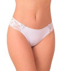 tanga vip lingerie com renda e laço bolinha branco