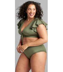 lane bryant women's shimmer flutter-sleeve no-wire swim bikini top 22 four leaf clover