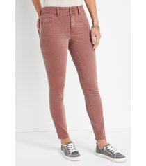 maurices womens jeans dark pink high rise double button jegging made with repreve brown denim