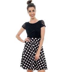 vestido curto jogabe poá preto