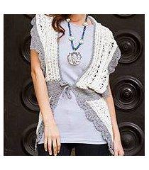 crocheted pima cotton vest, 'arequipa femme' (peru)