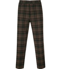 ymc hand me down checked trousers - brown