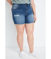 maurices plus size womens high rise medium wash bandana backed ripped 6in shorts blue