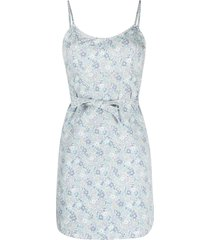 denimist all-over floral print dress - white