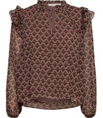blouse blus långärmad multi/mönstrad sofie schnoor