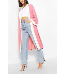 chiffon colour block midi kimono, pink