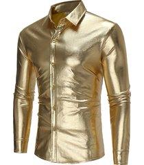 mens casual banquet club stage paillettes placcatura in oro button down turndown collar sottile camicia