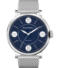 blackwell blue dial with silver tone steel and silver tone steel mesh watch 44 mm
