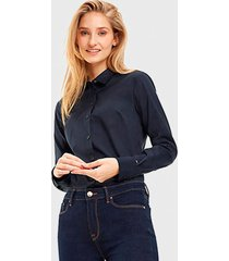 blusa tommy hilfiger ml azul - calce ajustado