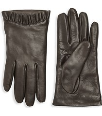 pleated-trim leather gloves
