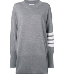 thom browne 4-bar oversize jumper - grey