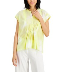 alfani printed ruched-waist top, created for macy's