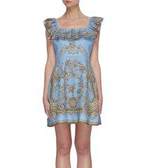 'fiesta' ruffle square neck paisley print mini dress