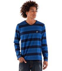 camiseta konciny decote v azul