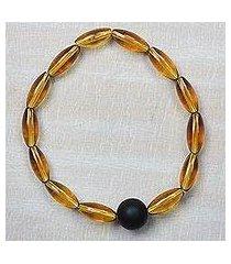 recycled glass beaded stretch bracelet, 'joyful mind' (ghana)