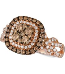le vian chocolatier diamond double halo cluster ring (1-1/10 ct. t.w.) in 14k rose gold