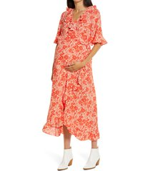 women's topshop floral print ruffle wrap maternity dress
