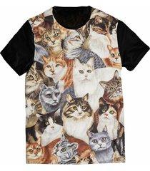 camiseta elephunk estampada gatinhos gatos catlovers preta - kanui