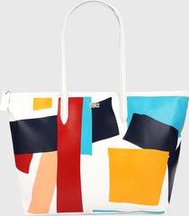bolso blanco-multicolor lacoste tote l.12.12