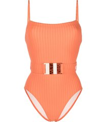 solid & striped the gemma belted swimsuit - orange