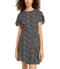 city studios juniors' printed flutter-sleeve dress