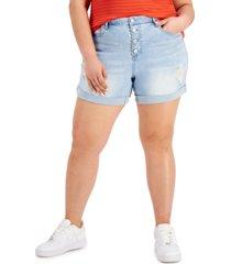 dollhouse trendy plus size ripped denim shorts