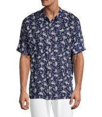 eleven paris men's regular-fit paisley-print shirt - dark indigo - size s