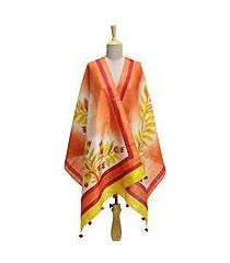 silk shawl, 'mount harriet sunrise' (india)