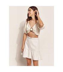 blusa feminina ostra brasil cropped com linho e argola manga bufante decote v off white