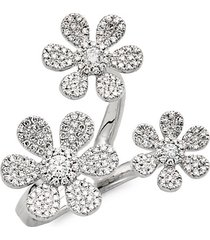 14k white gold & pavé diamond flower wrap ring