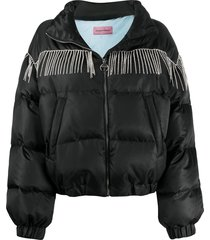 chiara ferragni crystal-embellished puffer jacket - black