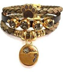 pulseira armazém rr bijoux couro verde oliva patinha