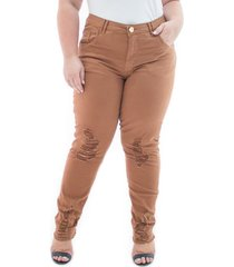 calça feminina jeans cigarrete destroyed color plus size
