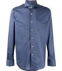 canali micro-houndstooth collared shirt - blue