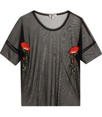 camiseta en tul bordada color negro, talla 10