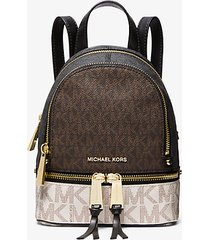 mk zaino rhea mini color block con logo - brown multi - michael kors