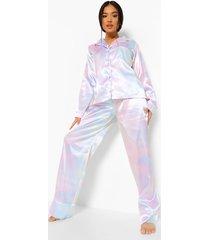 petite 3-delige satijnen pyjama set met broek en haarelastiek, multi