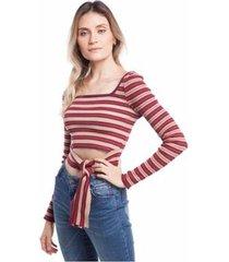 blusa cropped com amarração frente feminina - feminino